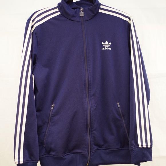 Blue Adidas Up Zip Track Navy Three Stripes Jacket 8nkwP0OX